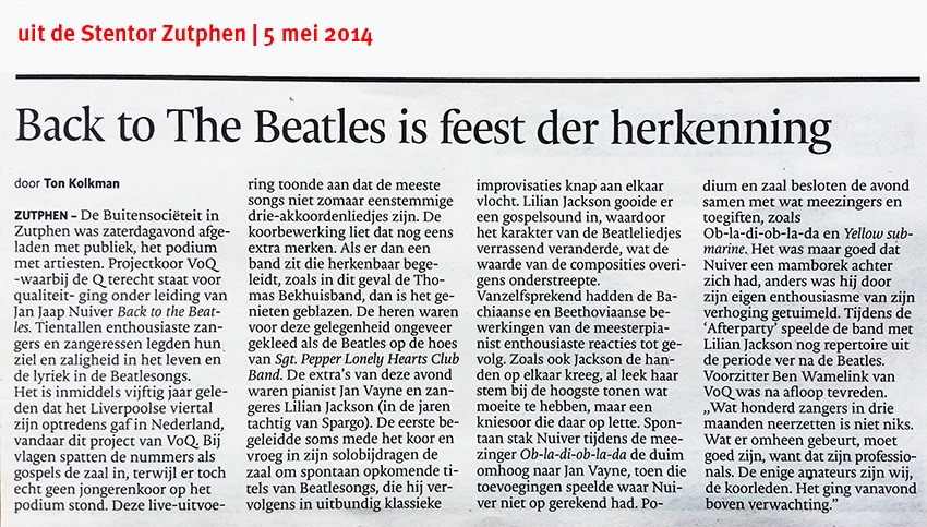 recensie de Stentor Zutphen concert Voq, Back to The Beatles